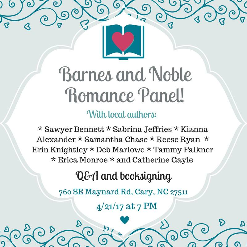 Join us on Friday, April 21st in Cary, NC to celebrate our wealth of local romance authors!